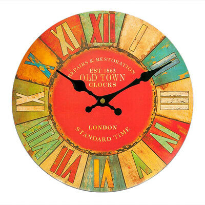 Vintage Wall Clock Rustic Shabby Chic Wood 30cm London Old Town Decor