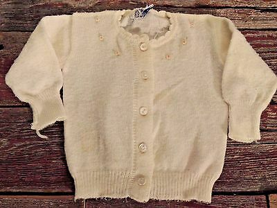 Vintage Babes Nylon By Infants Baby Girl Beaded Sweater