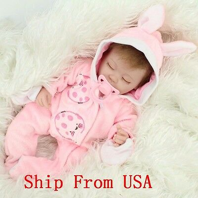 16 inch Sleeping Newborn Baby Silicone Realistic Reborn Girl Doll With Hair