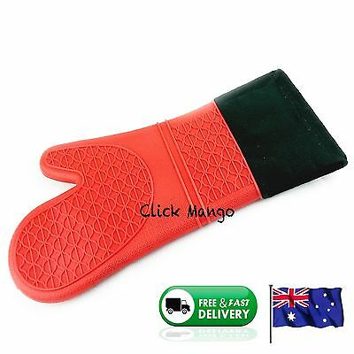 New Silicone Fabric Oven Kitchen Glove Mitt Cotton Heat Resistant - Red 38 cm L