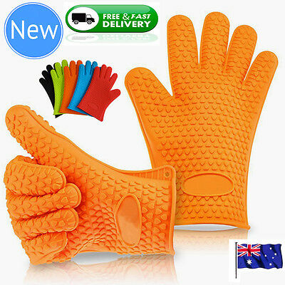 Silicone BBQ Gloves Pair Kitchen Oven Mitts Non Stick Pot Heat Proof Resistant 2