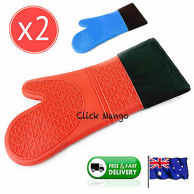 2 x New Silicone Fabric Oven Kitchen Glove Mitt Cotton Heat Resistant - Red 38cm