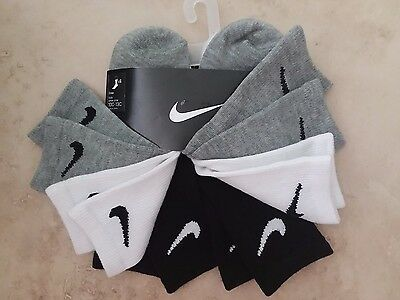 6) NIKE Kids QUARTER socks US shoe size 10C-13C Toddler Boys Girls Kids