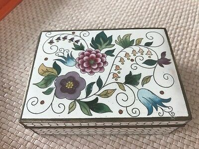 Signed KYOTO INABA Japanese Cloisonné  white  & floral box
