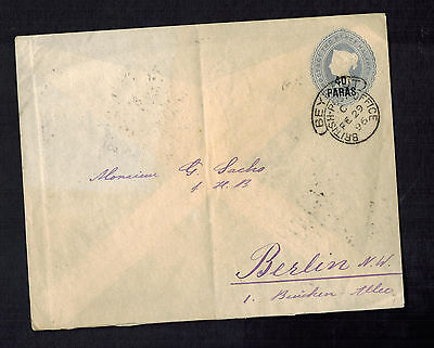 1896 British Post Office BPO in Beirut Lebanon PS Cover to Germany Leap Year