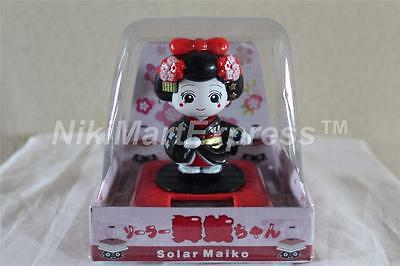 New Solar Powered Japanese Kimono Car Bobble Head Geisha Girl Lady Doll Black