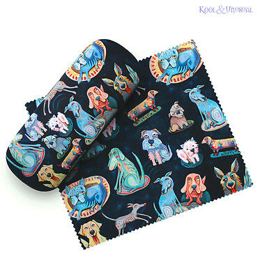 """Quirky and Colourful """"Dog Park"""" Glasses Case with Cloth by Allen Designs"""
