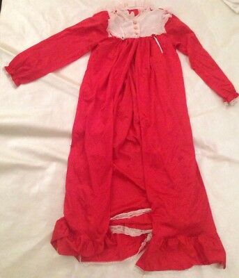 Vintage Child's Girl's Housecoat And Nightgown Set 1980's Red With Lace Sz 7-10
