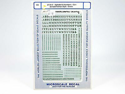 HO Microscale Decals Alphabet & Numbers Condensed Roman Style Green - 87-94-9