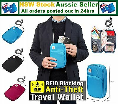 RFID Protected Travel Bag Ticket Passport Wallet Holder Cover Large Neck Pouch