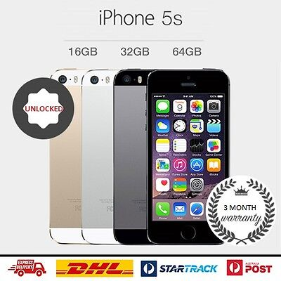 Apple iPhone 5s 16GB 32GB 64GB GREY SILVER GOLD Smartphone 4G LTE GSM Unlocked