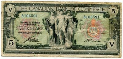 Canada 1917 The Canadian Bank Of Commerce 5 Dollars F-Vf