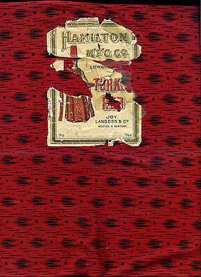 """Rare 24"""" Turkey Red & Black Calico Fabric, 1 Yard Cut from Orig.Labeled Bolt BTY"""