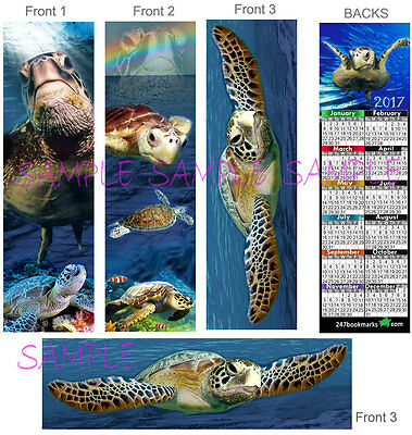 3 Set-SEA TURTLE CALENDAR 2017 BOOKMARK Ocean Sea Turtles Book ART Card Figurine