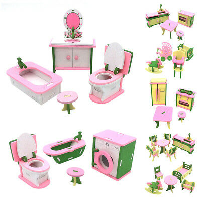 Doll House Wooden Furniture Kitchen Dining Table Miniature Baby Room Kid Toy Kit