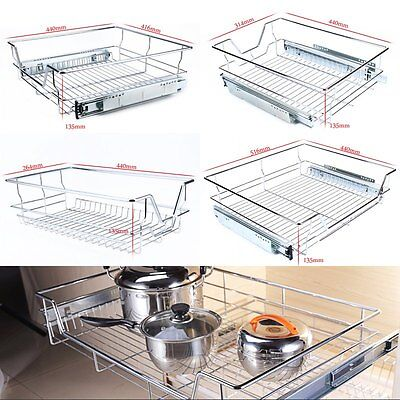 Pull Out Pantry Drawer Basket Wire Storage Cabinet Organiser Space Saver AU Post