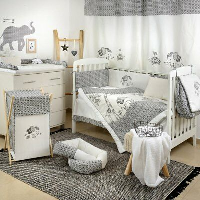 Gray Elephant  Appliqued Crib Comforter Quilt - babybeddingdesign