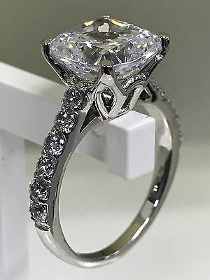 3.00ct White Cushion Diamond Halo Engagement and Wedding Ring in 14k White Gold