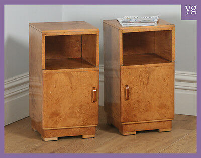 Antique Pair Art Deco Birds Eye Maple Bedside Cupboards Cabinets Night Tables
