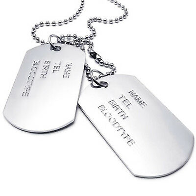 MENDINO Men's Women's Alloy Pendant Chain Necklace Army Military ID Dog Tags