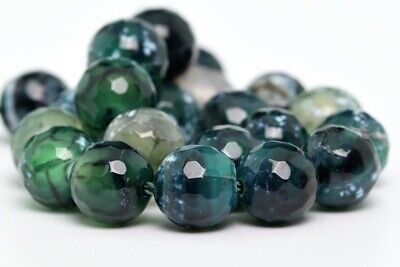 """8MM Natural Green Cracked Agate Beads Grade A Faceted Round Loose Beads 7.5"""""""