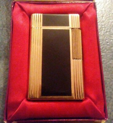 1964 Rare Vintage ST DUPONT Enamel Lacquer Gold Plated Lighter in Original Box