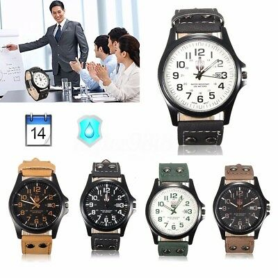 Men Women Date Quartz Wrist Watch Stainless Steel Case Leather Band Cool Gift