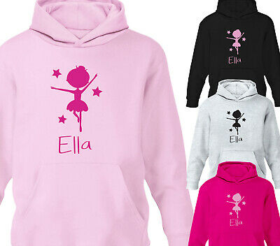 PERSONALISED BLONDE BALLERINA PRINCESS CHILDREN/'S KID/'S GIRL/'S HOODIE HOODY