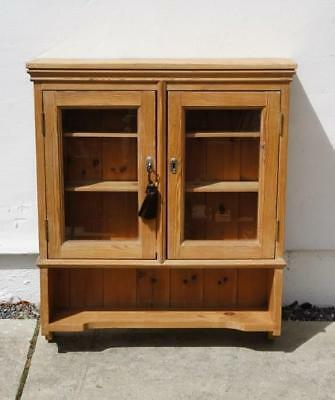 Vintage waxed pine partially glazed wall cabinet, lockable  73 cm x 64 cm VGC