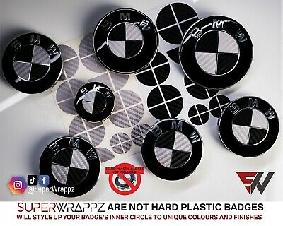 BLACK & SILVER CARBON FIBER Badge Overlay FOR BMW HOOD TRUNK RIMS @FITS ALL BMW@