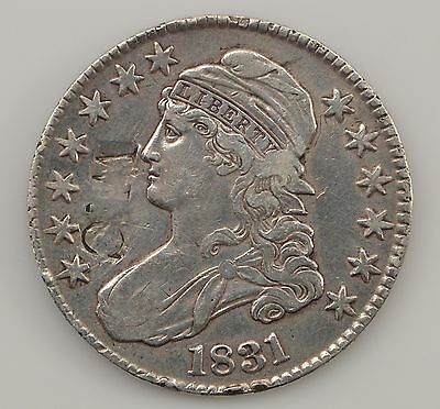 """1831 Capped Bust Silver Half Dollar Counterstamped: """"W.C."""" *Q54"""