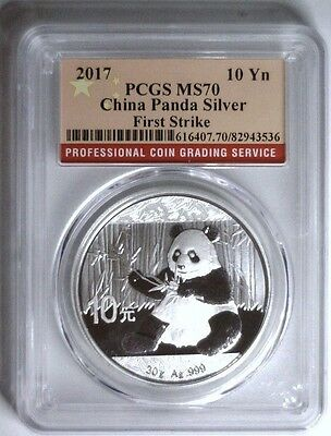 2017 Silver Panda 10Y CHINA ~ Red Flag Label First Strike PCGS MS70