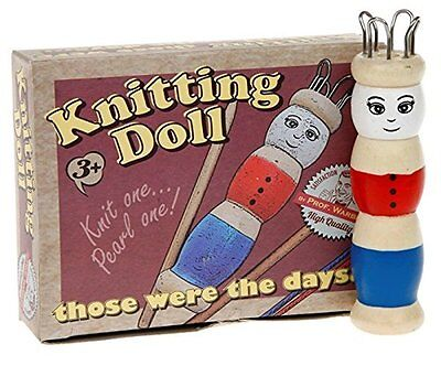Wooden Retro French Knitting Doll set with Wool Vintage Style Childrens Craft