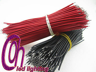 50pcs RED & 50pcs BLACK  10 cm Long Breadboard Jumper Cable Wires Tinned 1.4mm