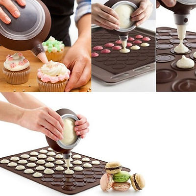 Silicone Macaron Macaroon Pastry Cake Cookie Muffin Oven Baking Sheet Mat MouldD