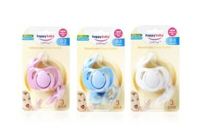 Happy Baby 3 Pack Cherry Soother (Assorted Colours) - Small