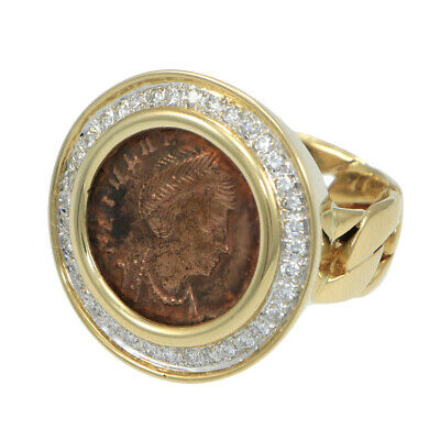 Ring with Bronze Ancient Roman Coin and .8 CTW Diamonds 14kt Yellow Gold