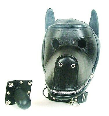 Quality Leather Dog Puppy Bondage Hood / Mask & Mouth Gag NEW Fetish