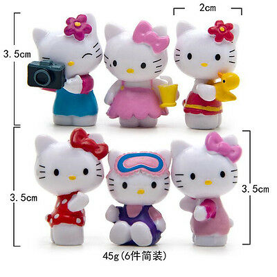 6 Pcs/Set Hello Kitty Figure Cute Kids Birthday Gift Toy Collection Model NEW