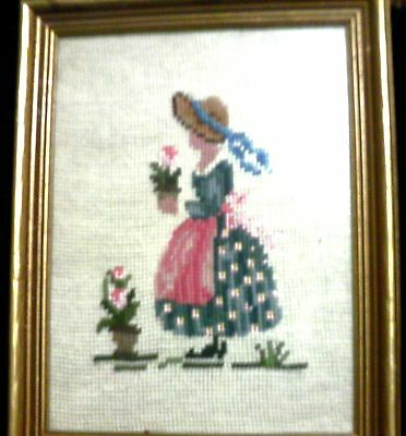 Cross stitch country girl vintage  framed ready to hang