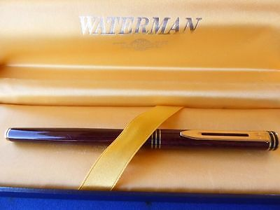 Waterman Exclusive Red Marble  & Gold Rollerball Pen New  In Box