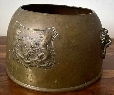 Vintage Metal Planter With Lion Handles & Embossed Crest
