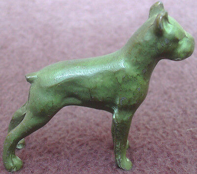 Vintage Bronze Boxer Dog Miniature Figurine