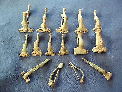 Collection Of 15 Pieces Complete Ancient Roman And Celtic Bronze Fibula Brooch