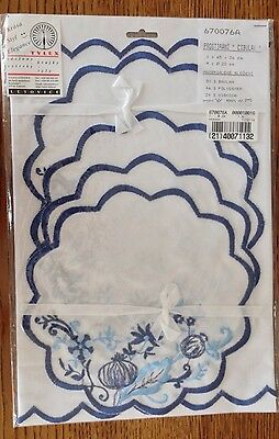 European Blue Onion Table Runner & 4 Doilies-New In Package