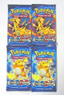 New! Pokemon XY Evolutions Booster New Sealed TCG Card Game - 4 Booster Packs