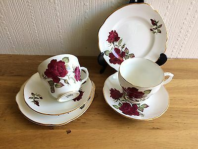 2 Vintage Shabby Chic Duchess China Trios Cups Saucers & Plates Red Theme
