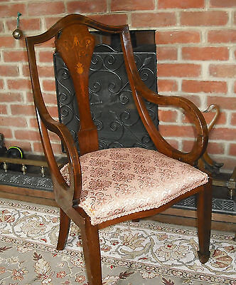 Edwardian Marquetry Inlaid Chair