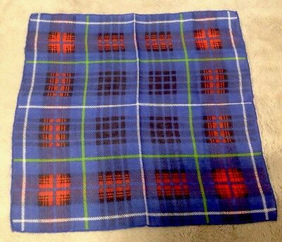 Women's Small Blue Red Green White Black Plaid Handkerchief 11.5 X 11.5