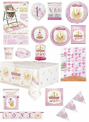 1st Birthday Pink Gold Girl Party Banners Balloons Bunting Napkins Lootbags